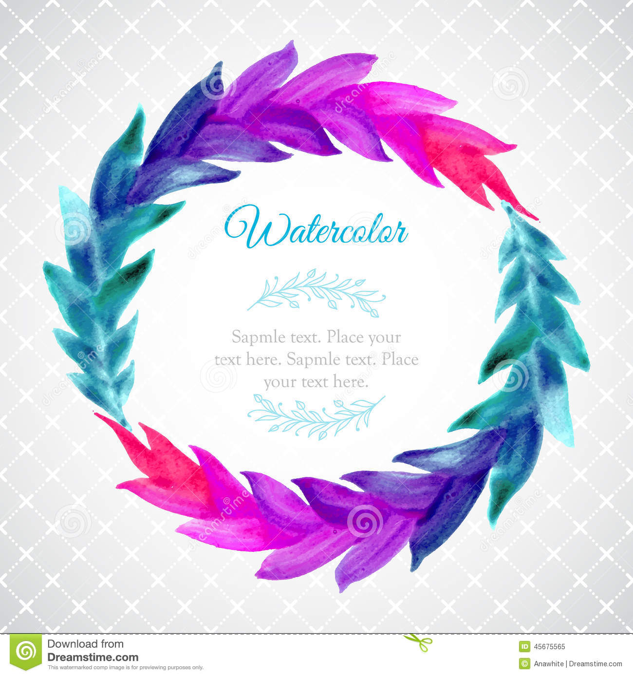 Watercolor Template With Wreath Of Colorful Leaves Stock Vector ...