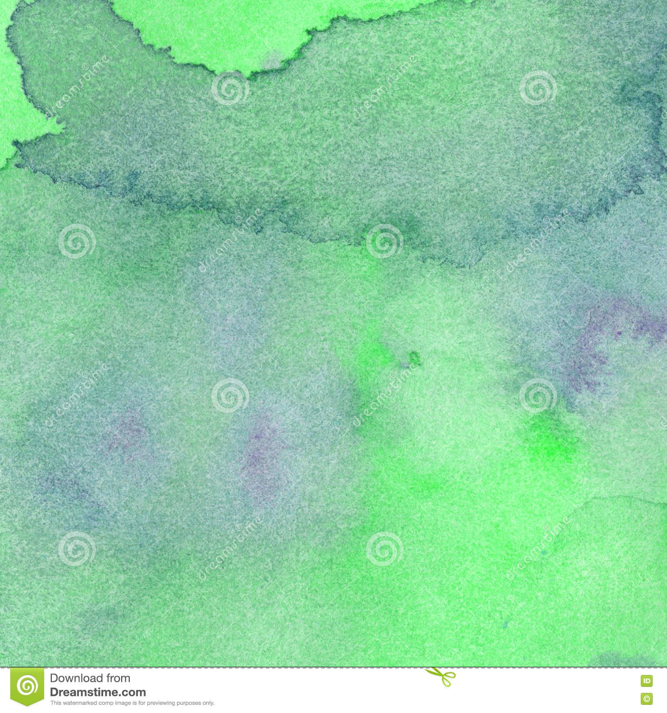 Watercolor texture transparent marble emerald green, mint blue color. watercolor abstract background.