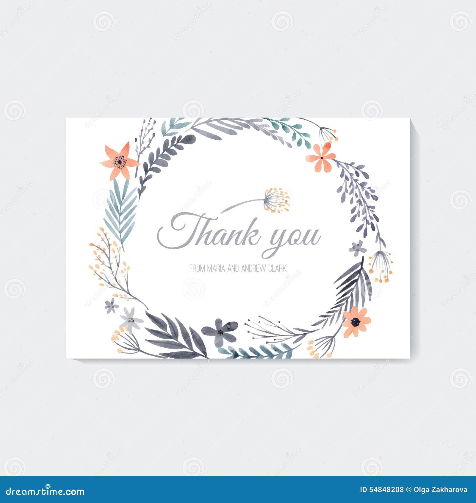 watercolor thank you card illustration 54848208 megapixl