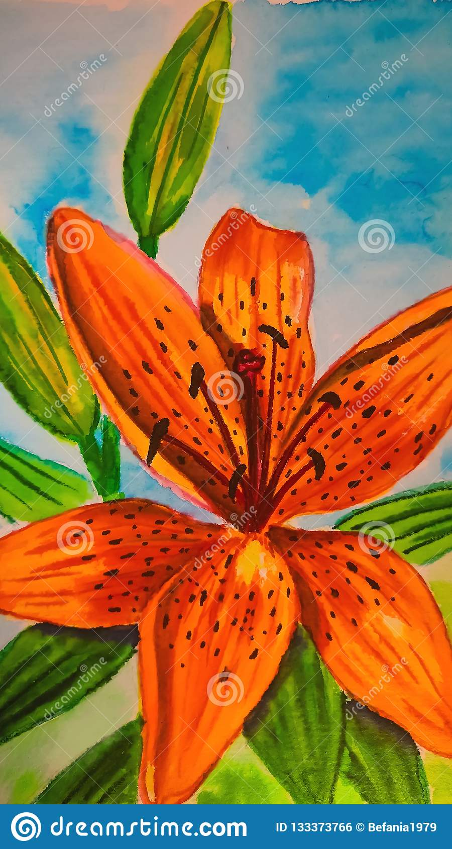 Watercolor Tiger Lily on the skyblue background