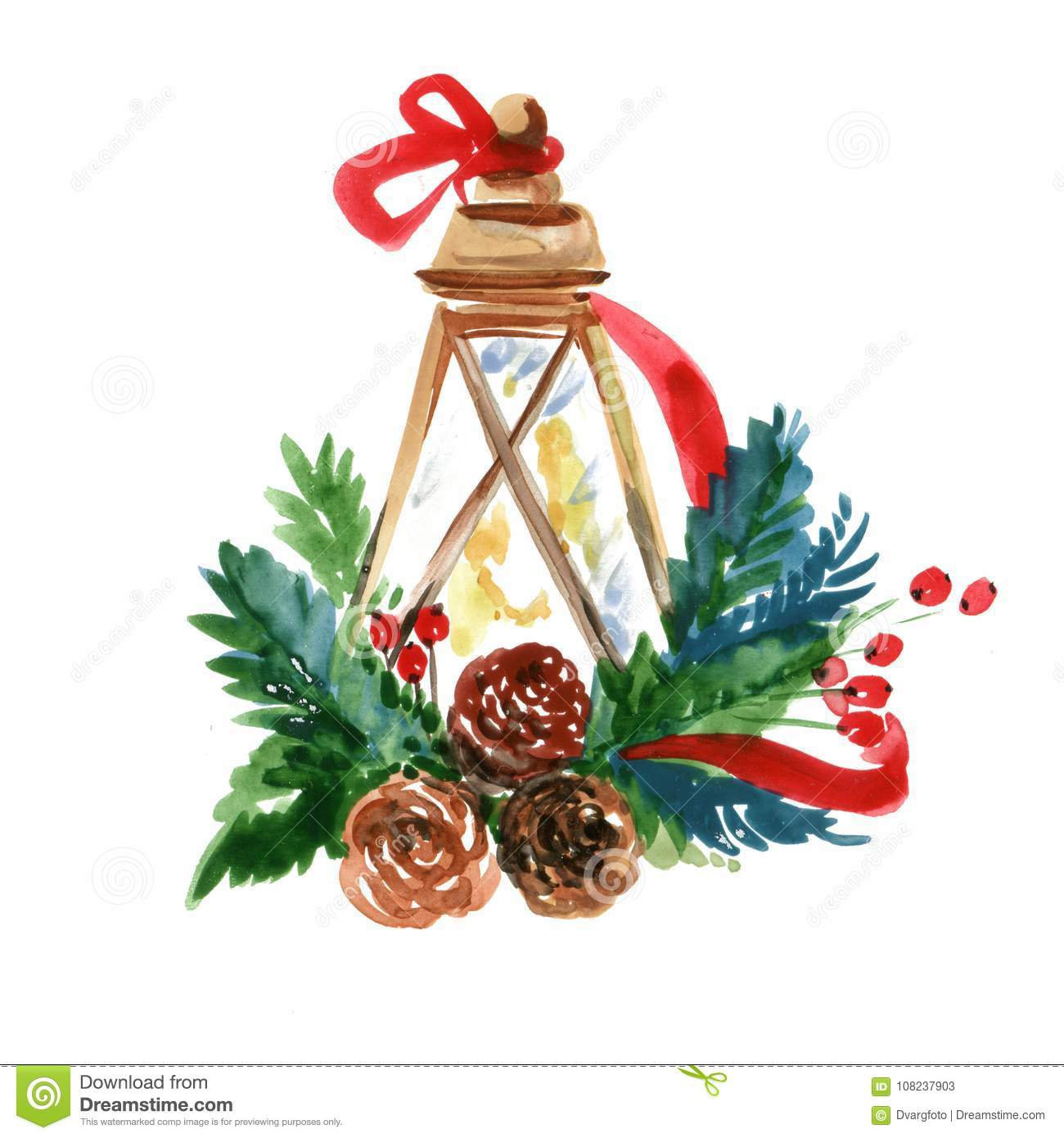 watercolor traditional christmas lantern with decor hand drawn illustration on white background