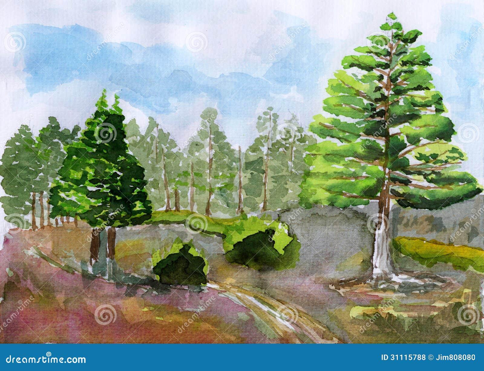 Watercolor Tree Royalty Free Stock Photos Image 31115788