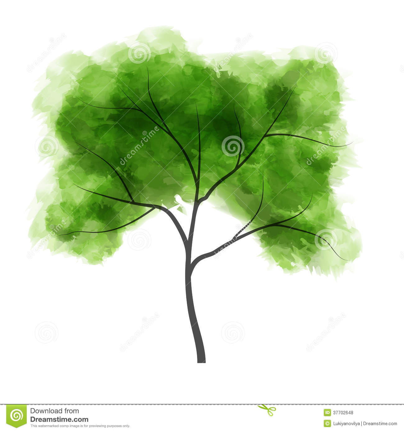 Watercolor Tree Vector Illustration Royalty Free Stock