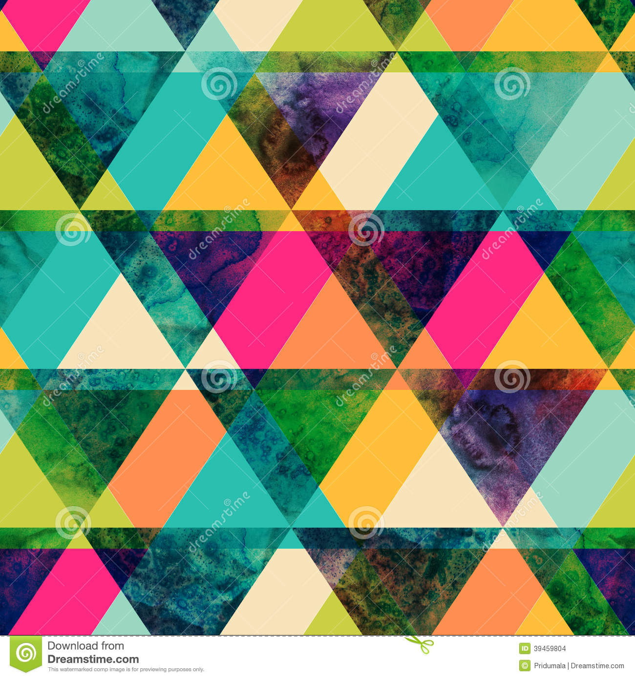 Watercolor triangles seamless pattern. Modern hipster seamless p