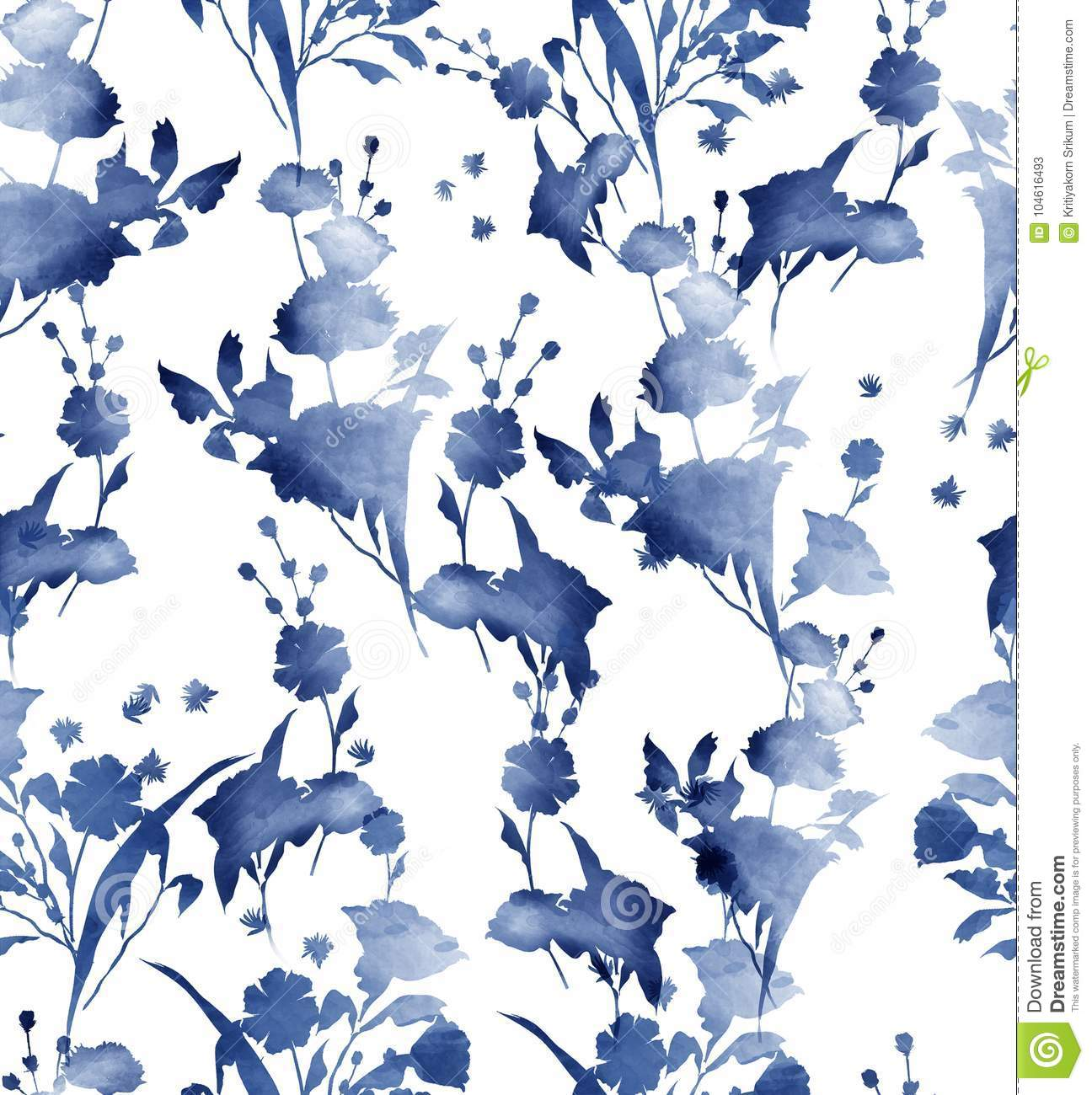 Watercolor Tropical Floral Pattern Delicate Flower Wallpaper