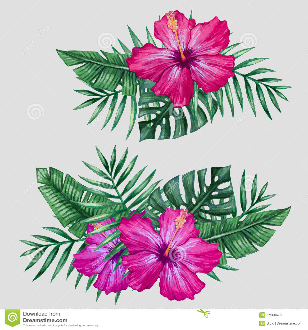 Watercolor Tropical Flowers And Palm Tree Leaves Stock Vector Illustration Of Nature Decoration 67960675 Finish the leaves and tropical flowers with smaller brush and black paint. dreamstime com