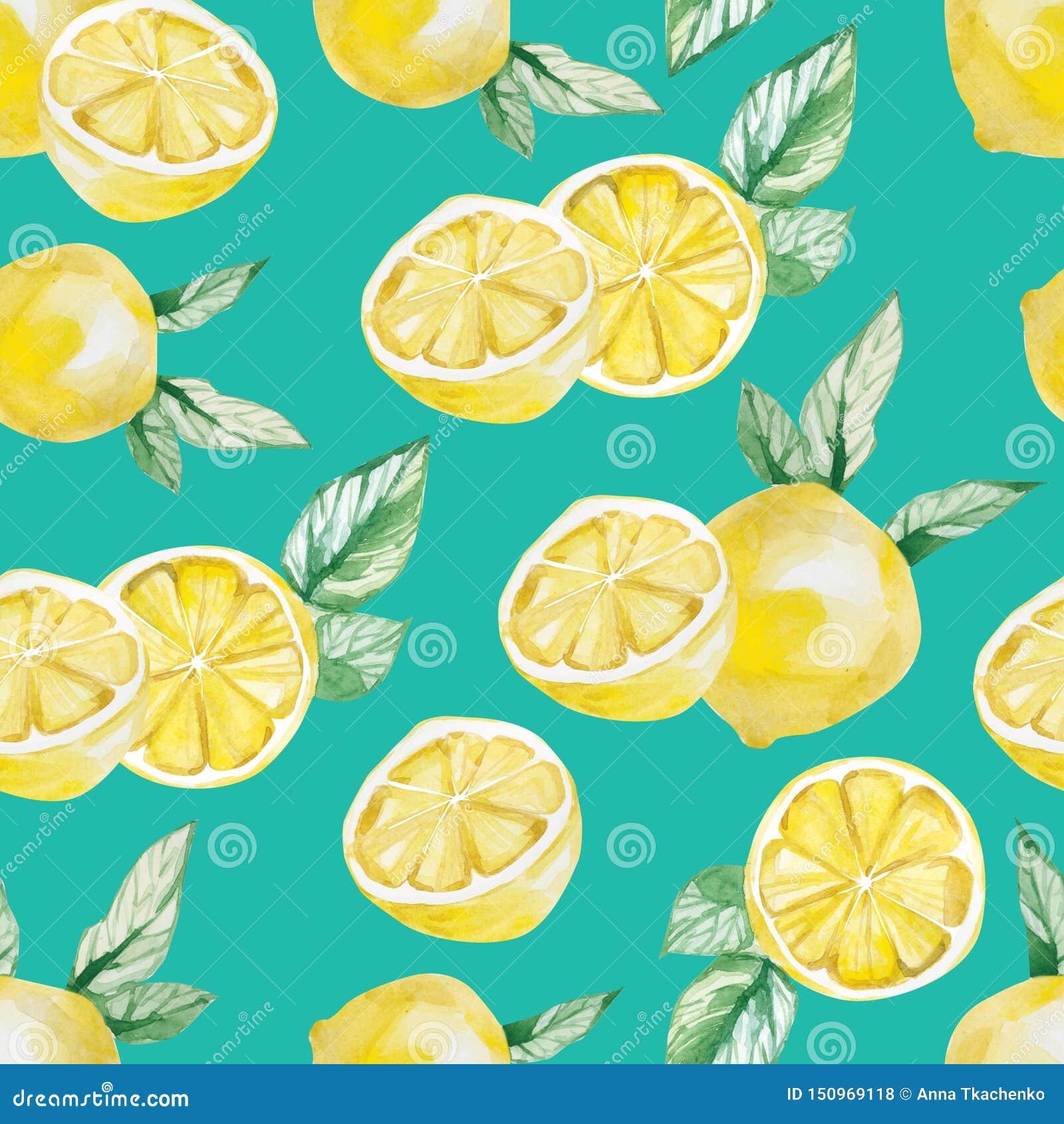 Watercolor Tropical Fruit Pattern Lemon Print For The Textile