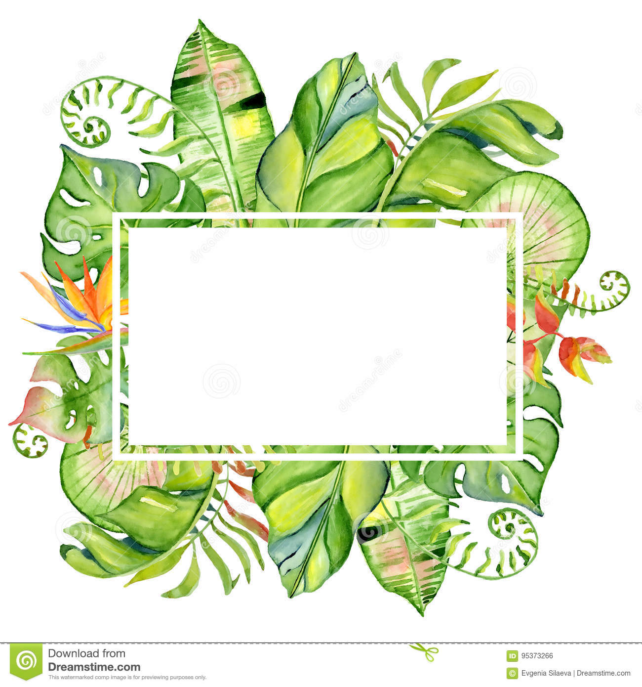 Watercolor Tropical Leaves Frame Stock Illustration