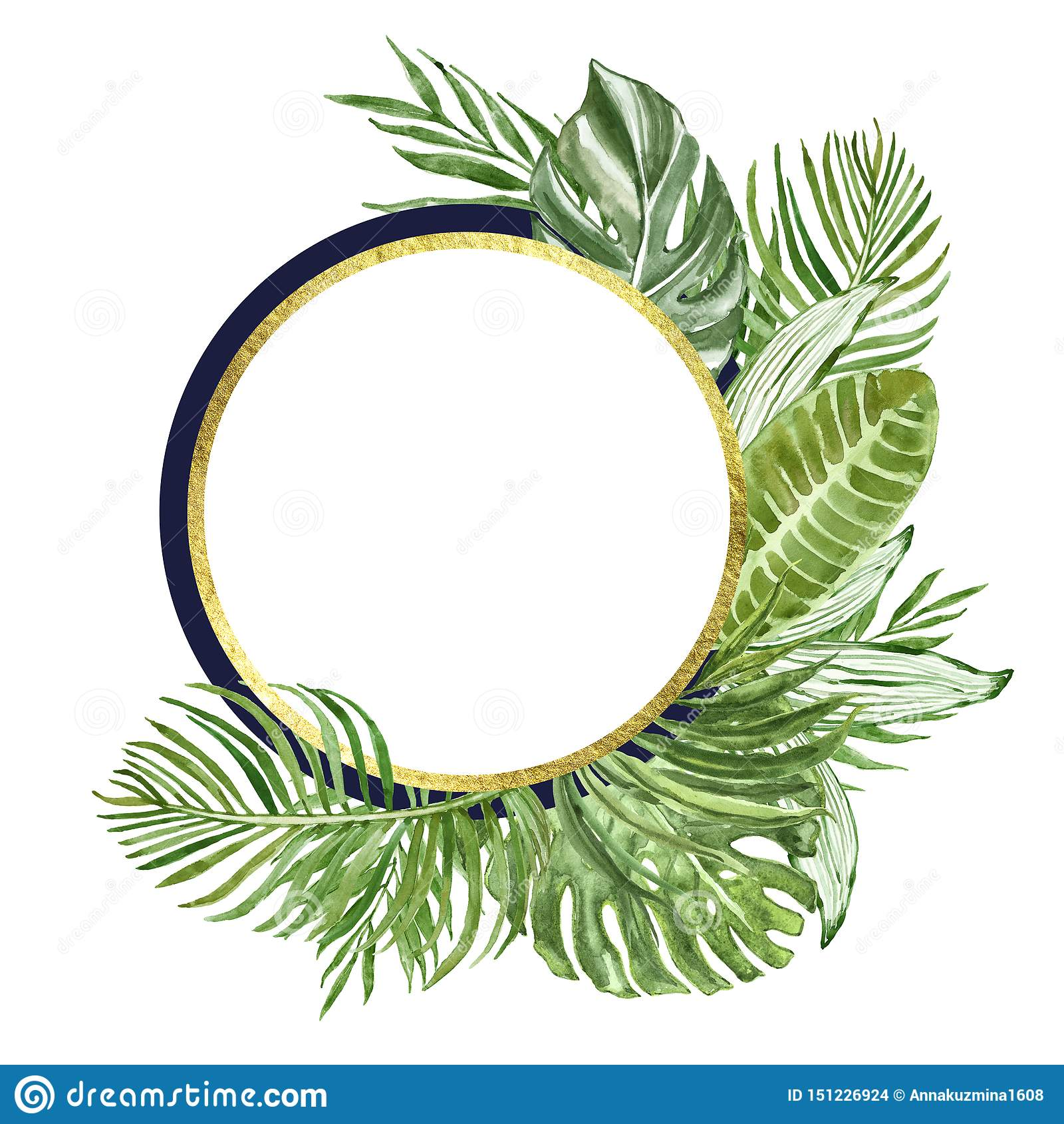 Watercolor Tropical Leaves And Plants Round Frame Golden Geometric Banner And Green Exotic Foliage On White Background Stock Illustration Illustration Of Botanical Drawing 151226924 Shop for tropical leaf wall decor online at target. https www dreamstime com watercolor tropical leaves plants round frame golden geometric banner green exotic foliage white background space image151226924