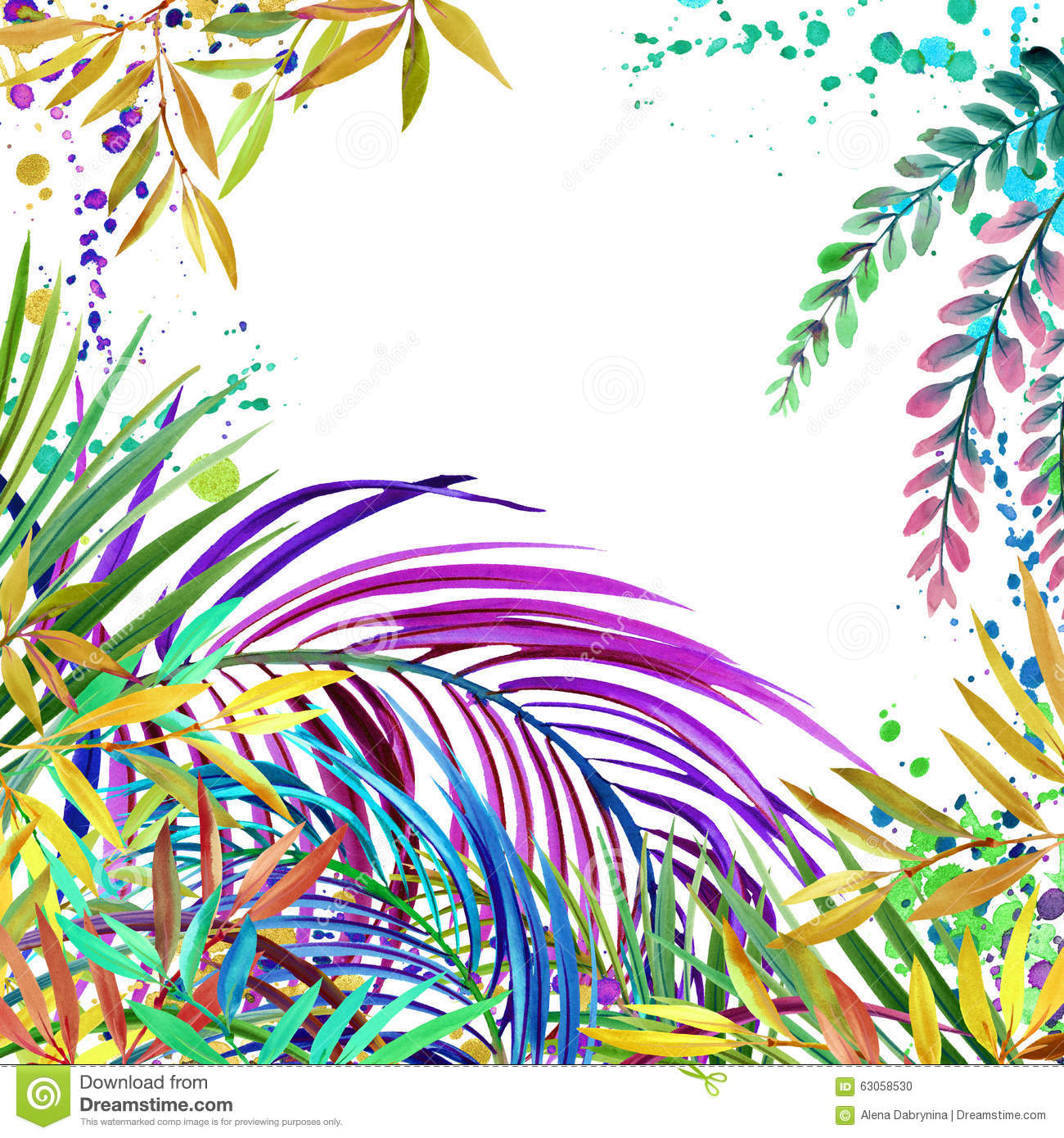 Watercolor Tropical Nature Background, Watercolor Summer ... Tropical Print Background