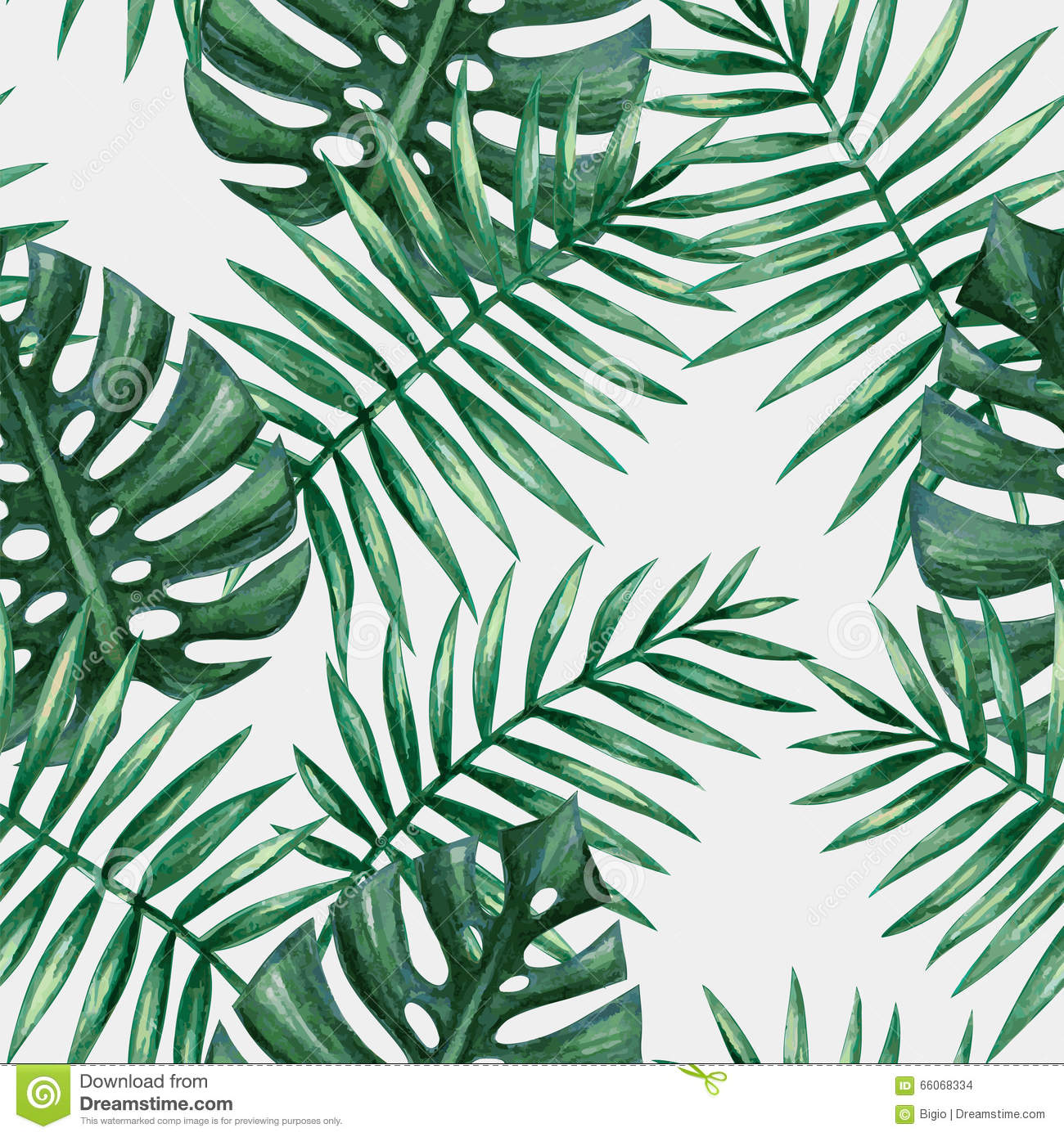 Watercolor Tropical Palm Leaves Seamless Pattern. Stock Vector - Image ...