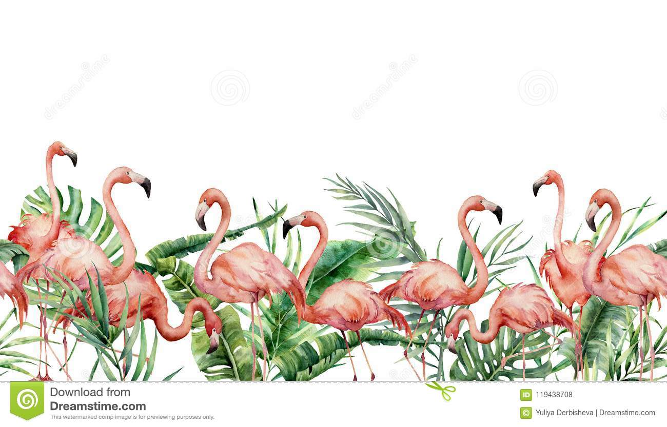 Watercolor tropical seamless border with flamingo and exotic leaves. Hand painted floral illustration with pink birds