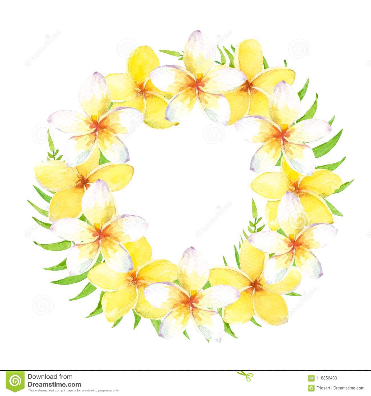 Watercolor Tropical Wreath With Plumeria Flowers And Leaves. Can Be ...
