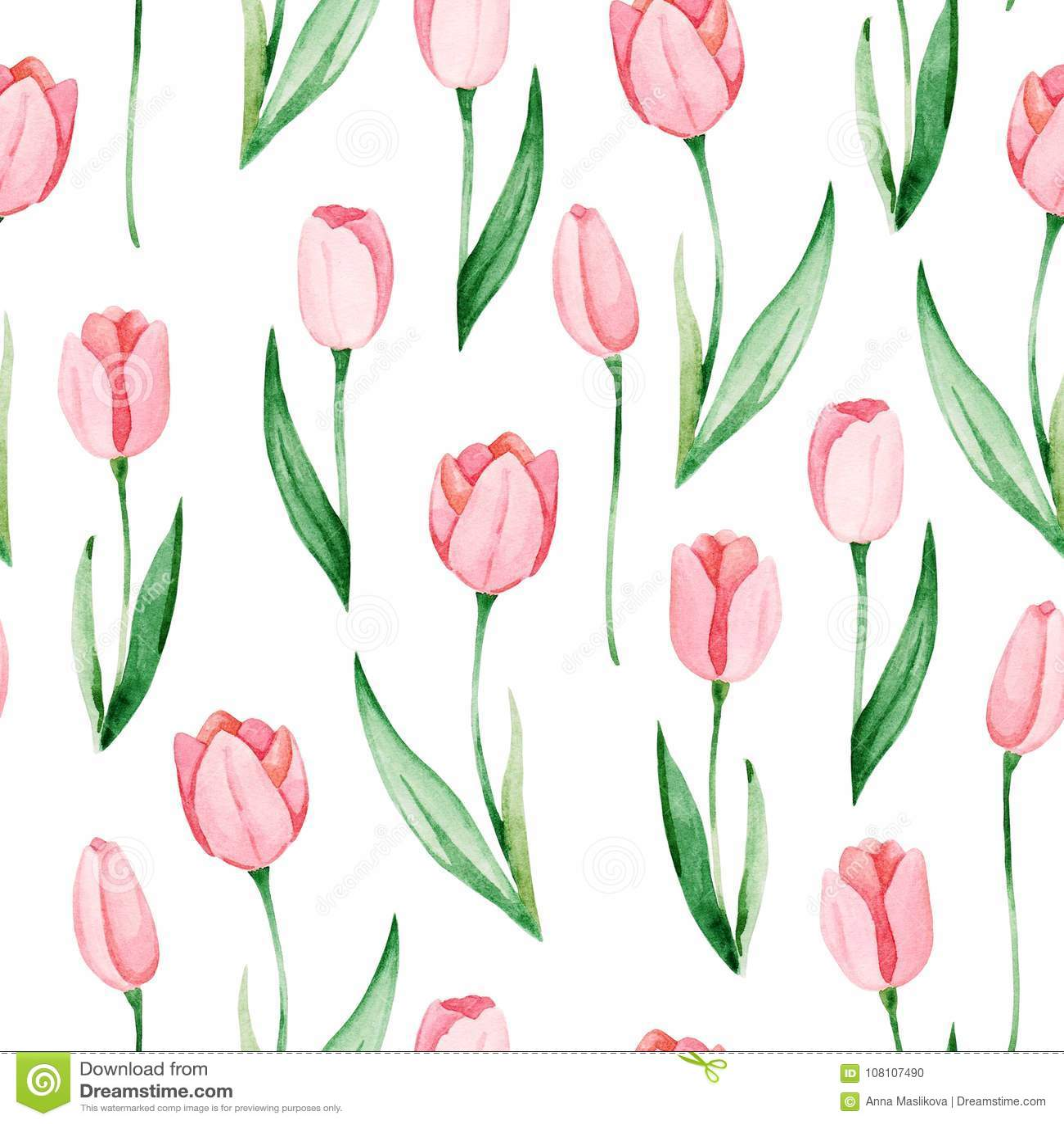 Watercolor Tulips Pattern International Women S Day For Design