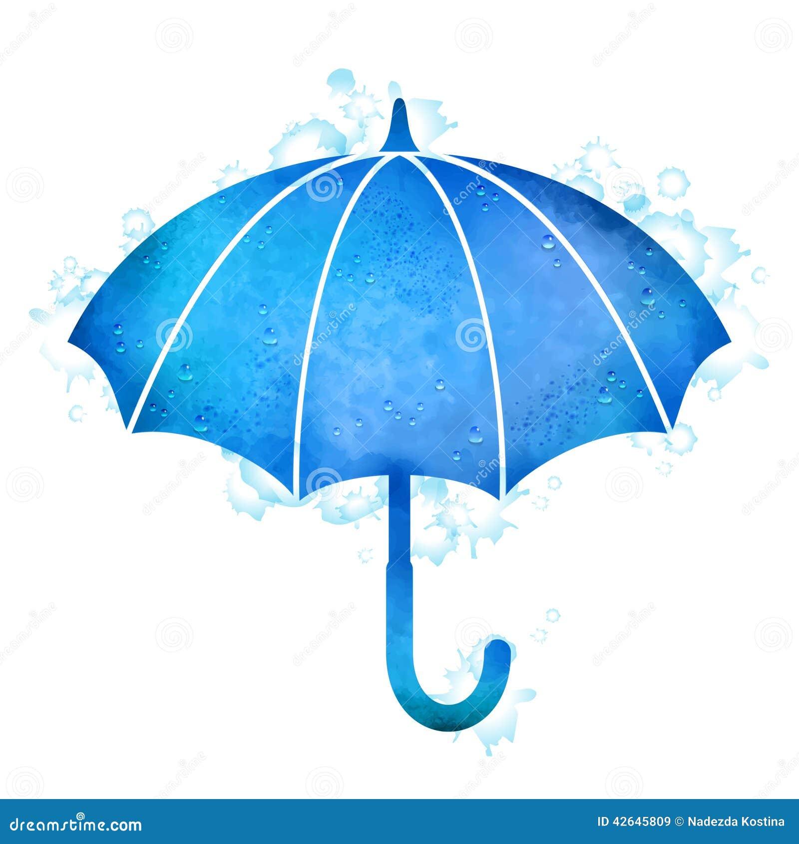 Watercolor Umbrella Rain Drops Stock Vector Image 42645809