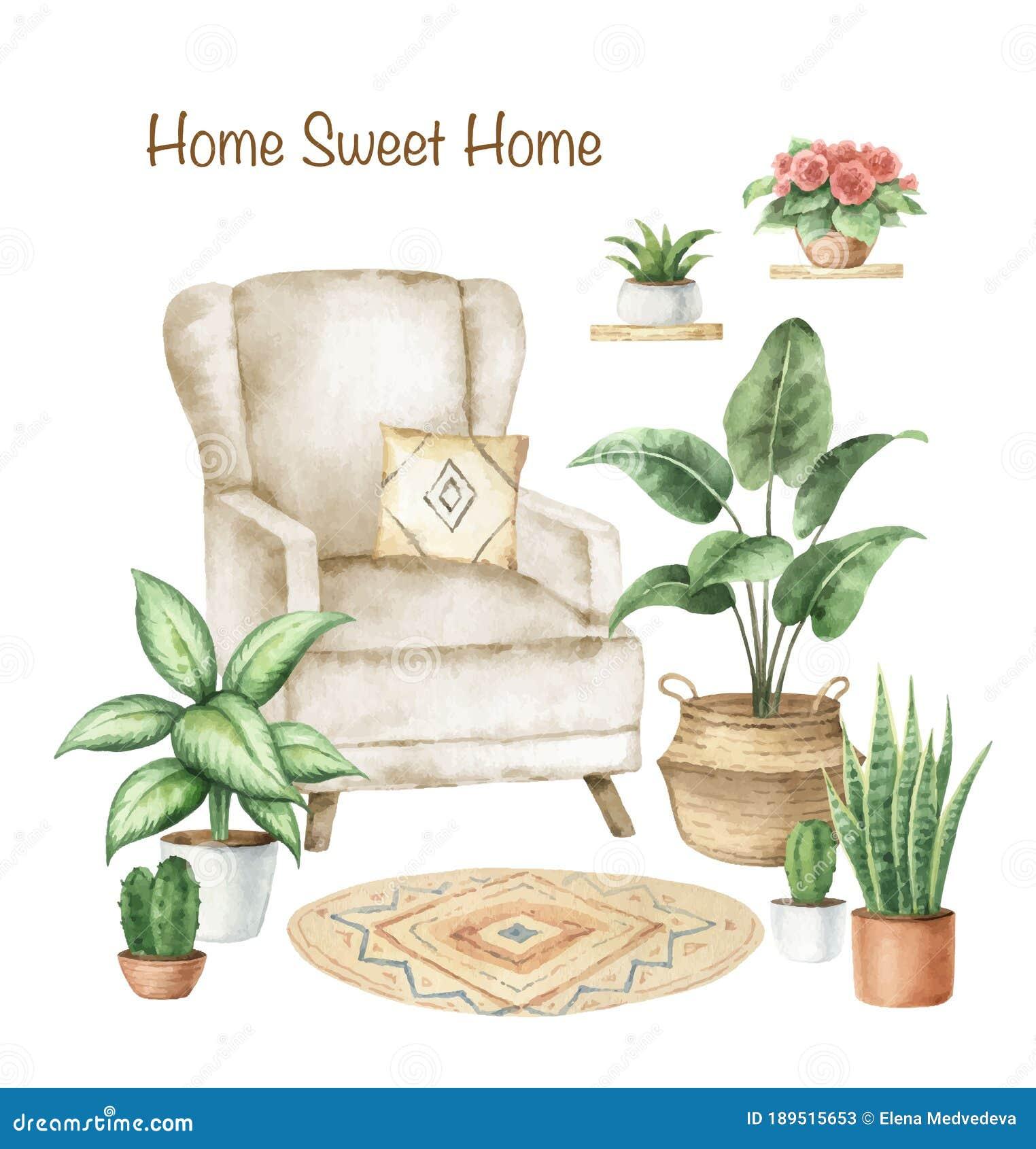 Watercolor Vector Aesthetic Room Decor And Indoor Plants. Stock ...