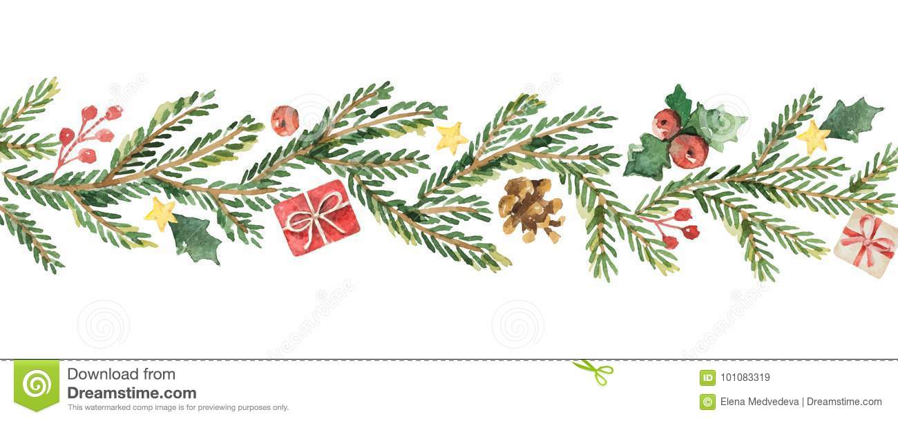Christmas Banner.Watercolor Vector Christmas Banner With Fir Branches And
