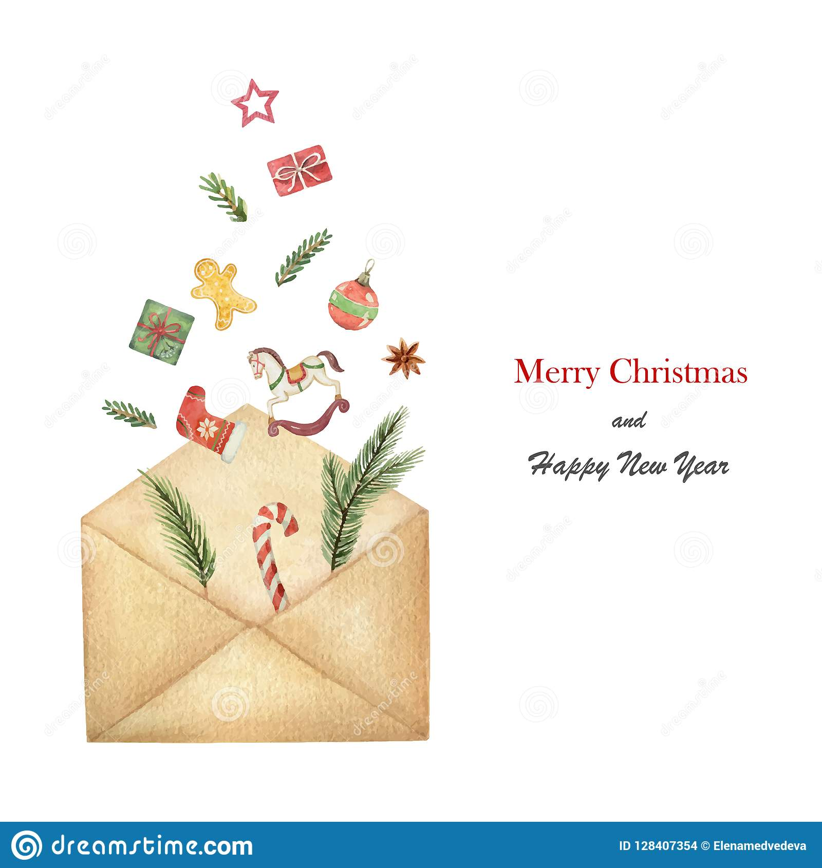 Watercolor vector postal envelope with green spruce branches with gifts and toys.