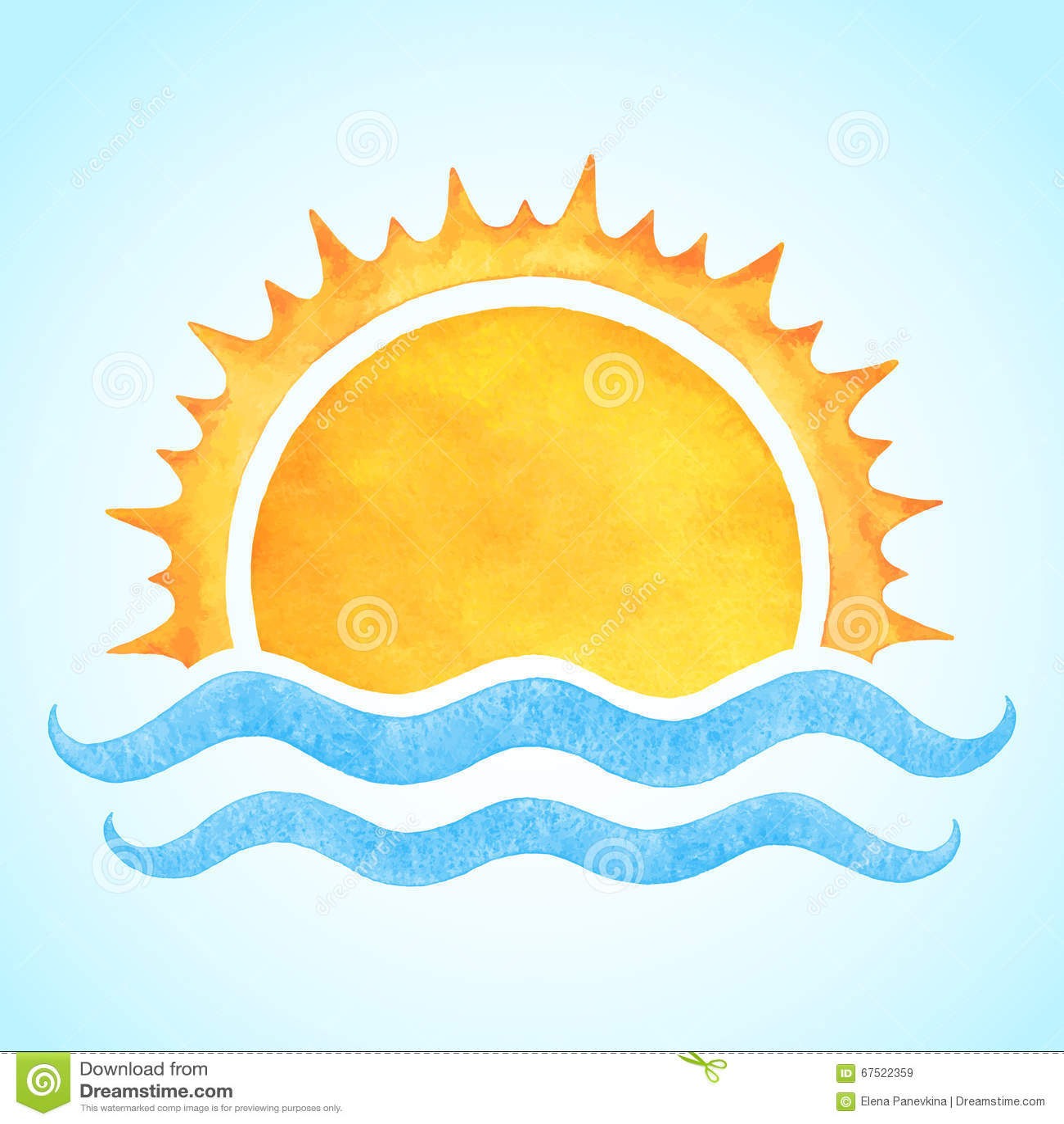Watercolor Vector Rising Sun With Sea Waves Stock Vector ...