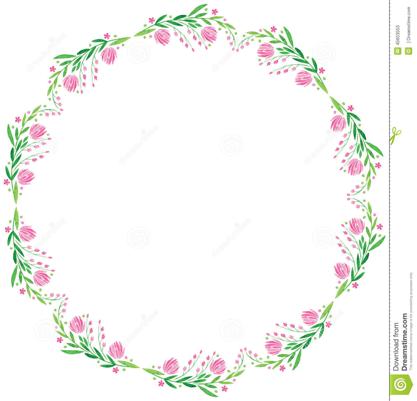 Watercolor Vector Round Frame - Big Pink Flower Illustration ...