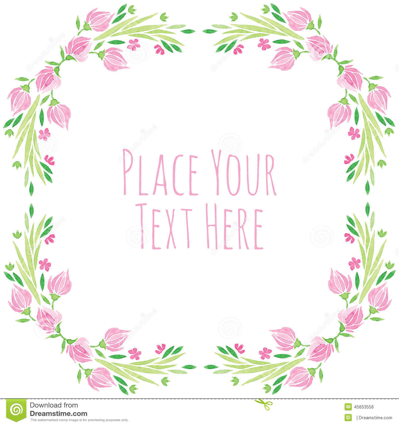 Watercolor Vector Round Frame Pink Flower With Stock