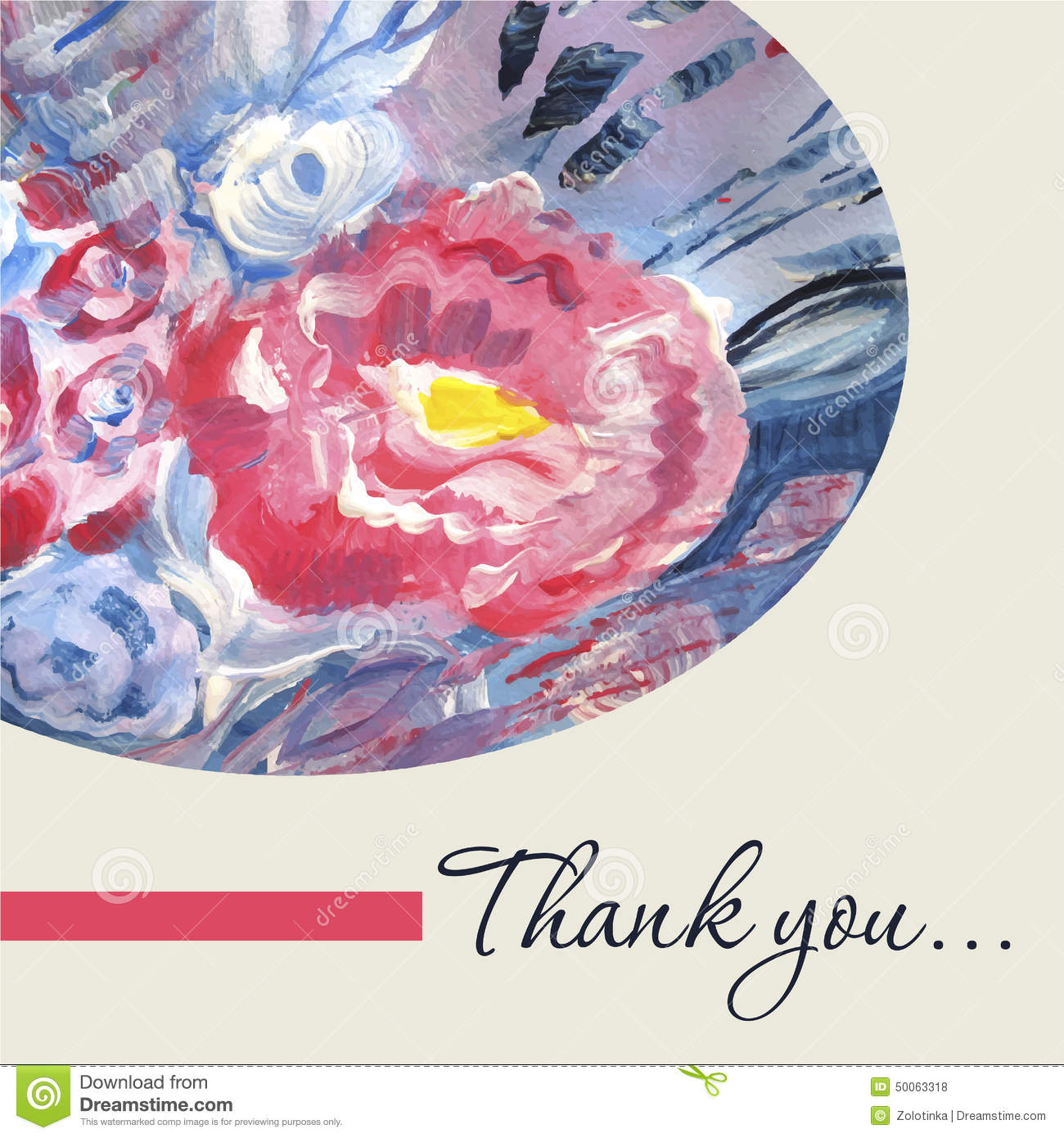 watercolor vector thank you card template stock vector