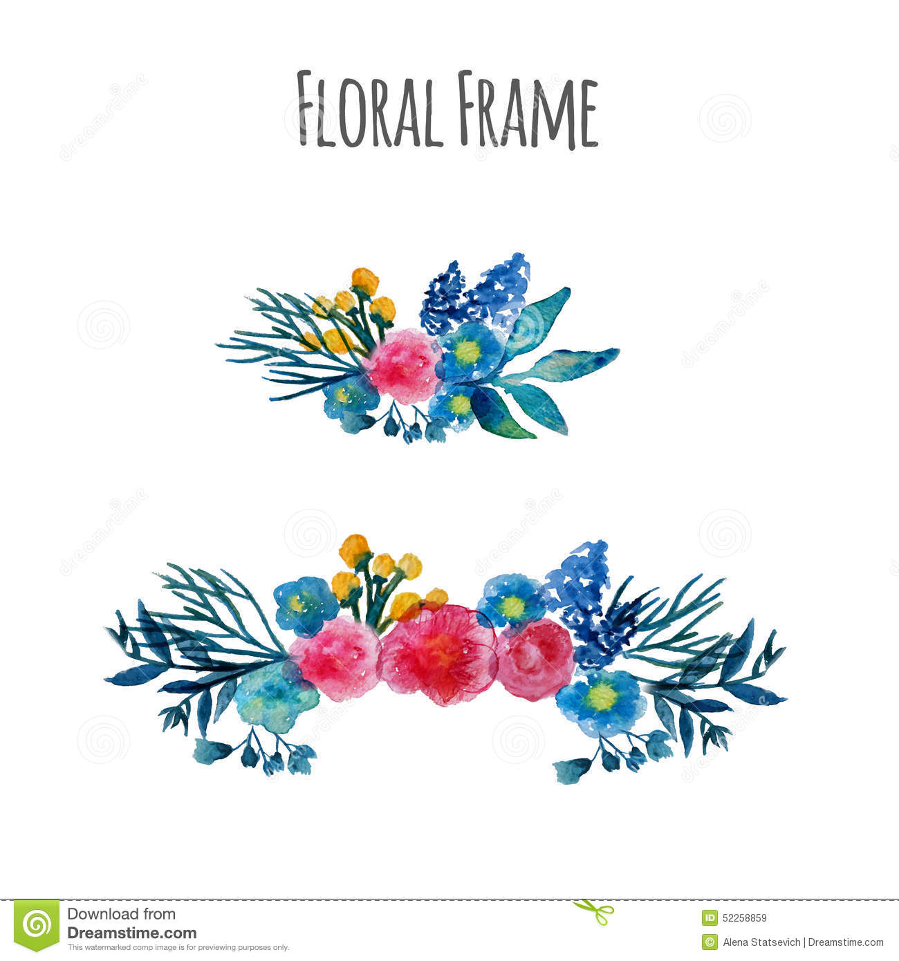 Watercolor hand drawn flower wreath for design artistic isolated - Watercolor Vector Wreath Floral Frame Design Stock Vector