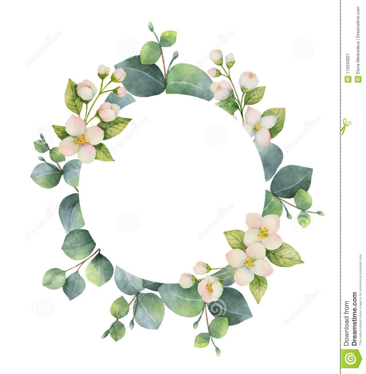 Watercolor Vector Wreath With Green Eucalyptus Leaves Jasmine