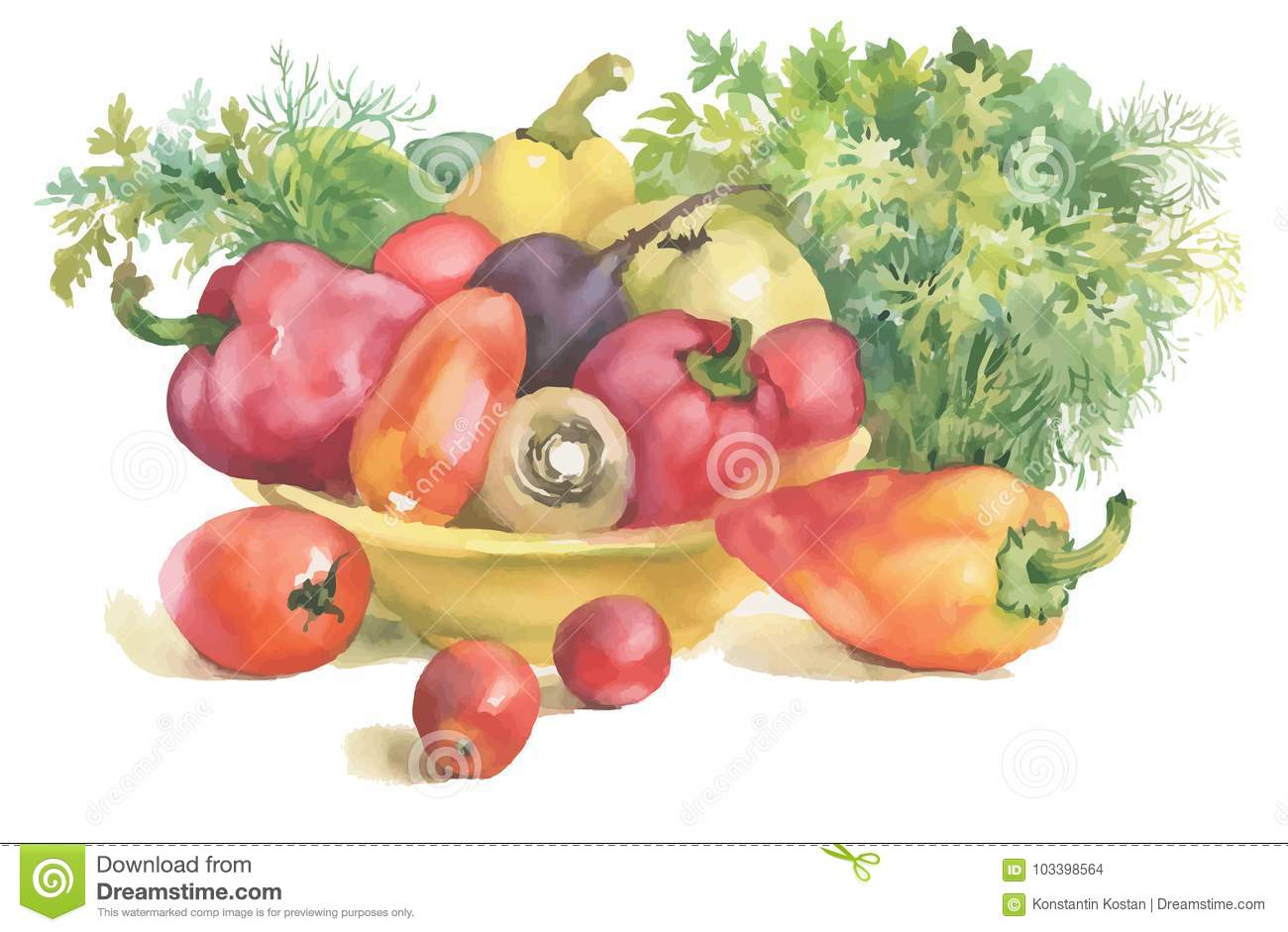 Watercolor vegetables in bowl and herbs, isolated on white.