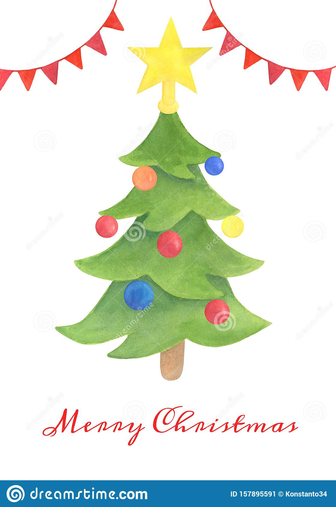 Watercolor Vintage Christmas Template For Greeting Card Postcard Decoration Hand Drawn Xmas Tree With Balls And Star Topper Stock Illustration Illustration Of Hand Background 157895591