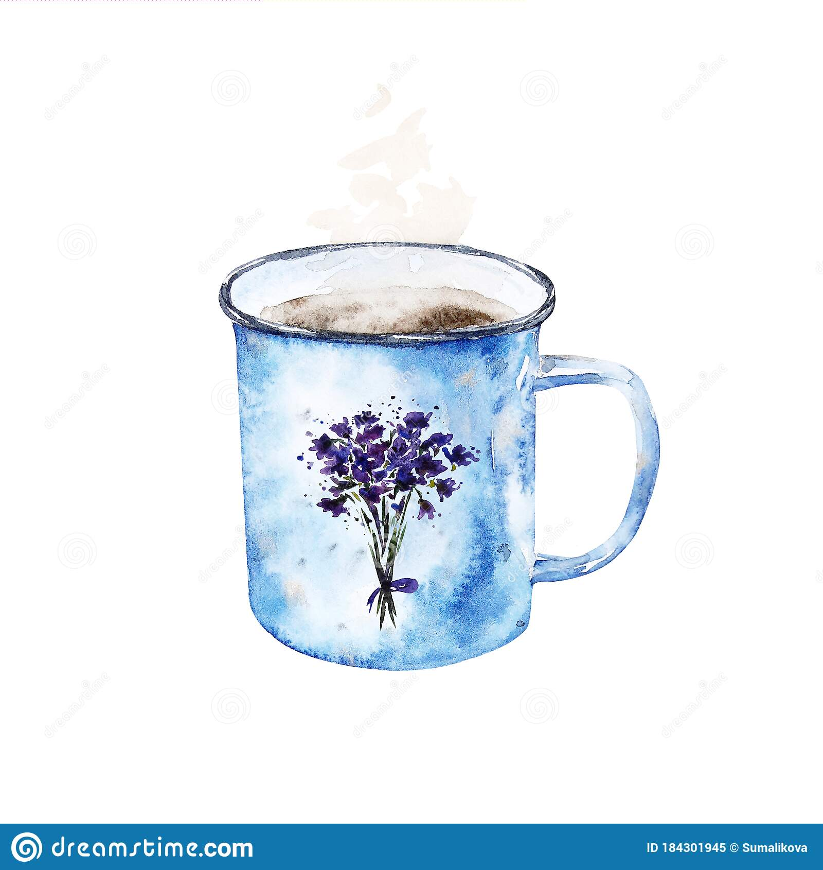 Watercolor Vintage Enamel Coffee Mug With Cute Printed Flowers Stock Illustration Illustration Of Fashion Isolated 184301945