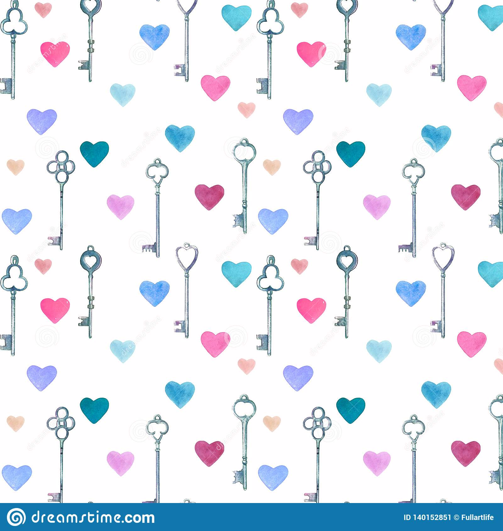 Watercolor vintage metal keys drawn by hands and pink, blue hearts seamless pattern