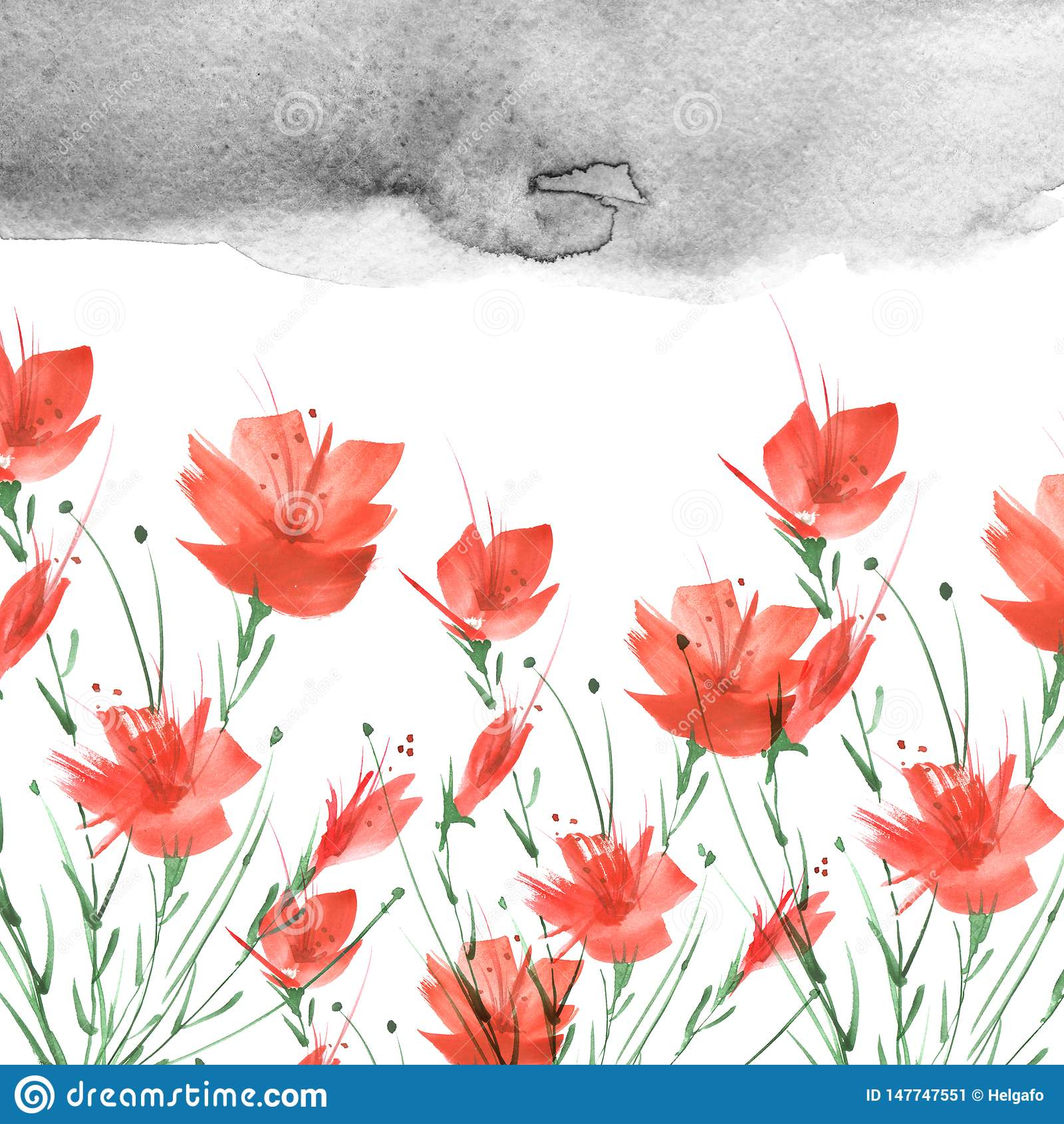 Watercolor vintage picture, border of a botanical pattern, red poppy, rose, lily, wild flowers, grass, plants, leaves.