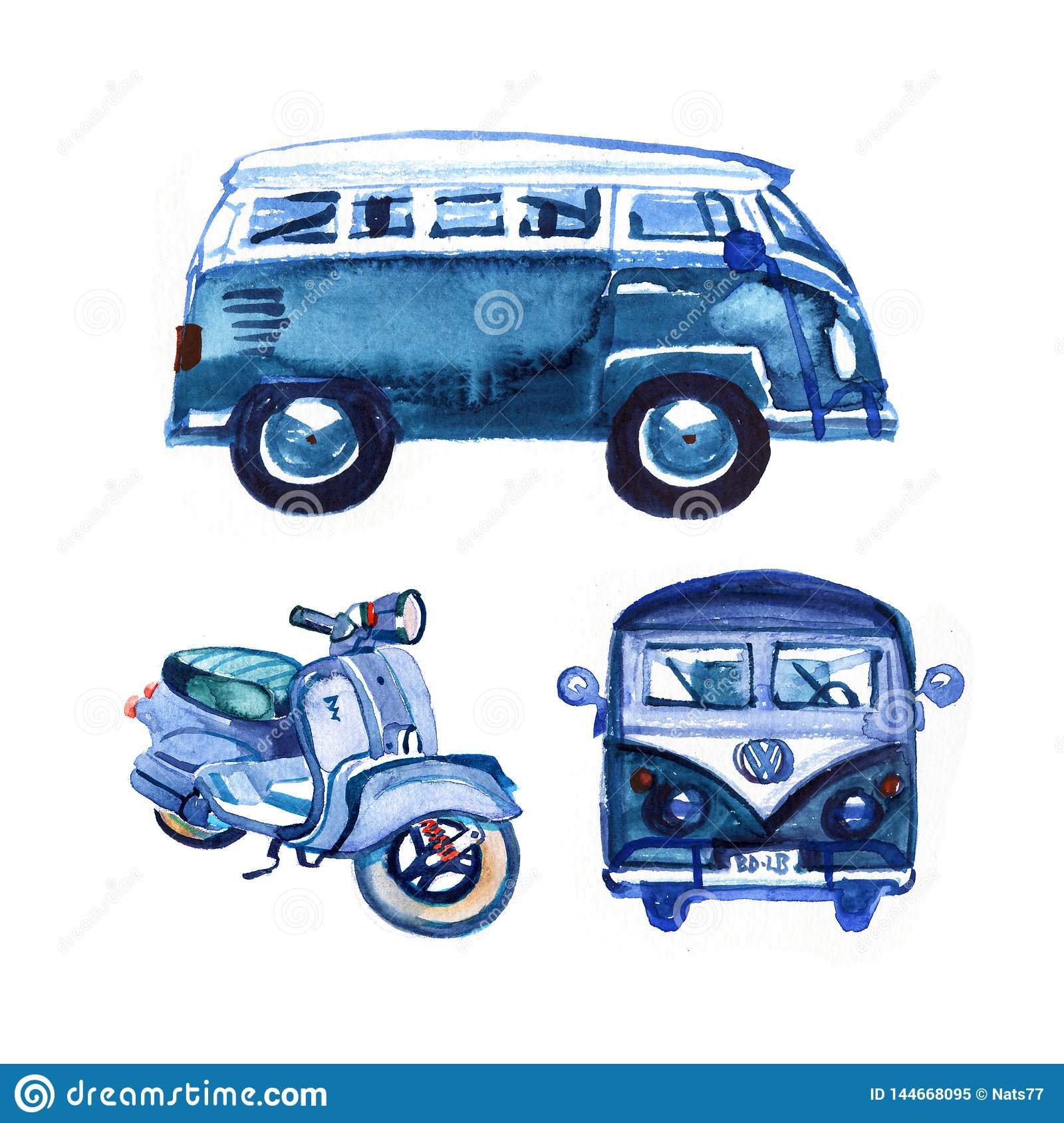 Watercolor vintage retro blue van and bike, isolated on white background
