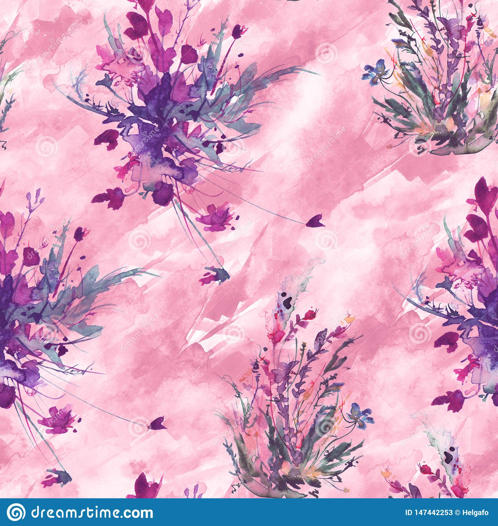 Watercolor vintage seamless pattern, floral pattern, pink, roses, poppy, buds. Plants, flowers, grass in floral ,wild grass