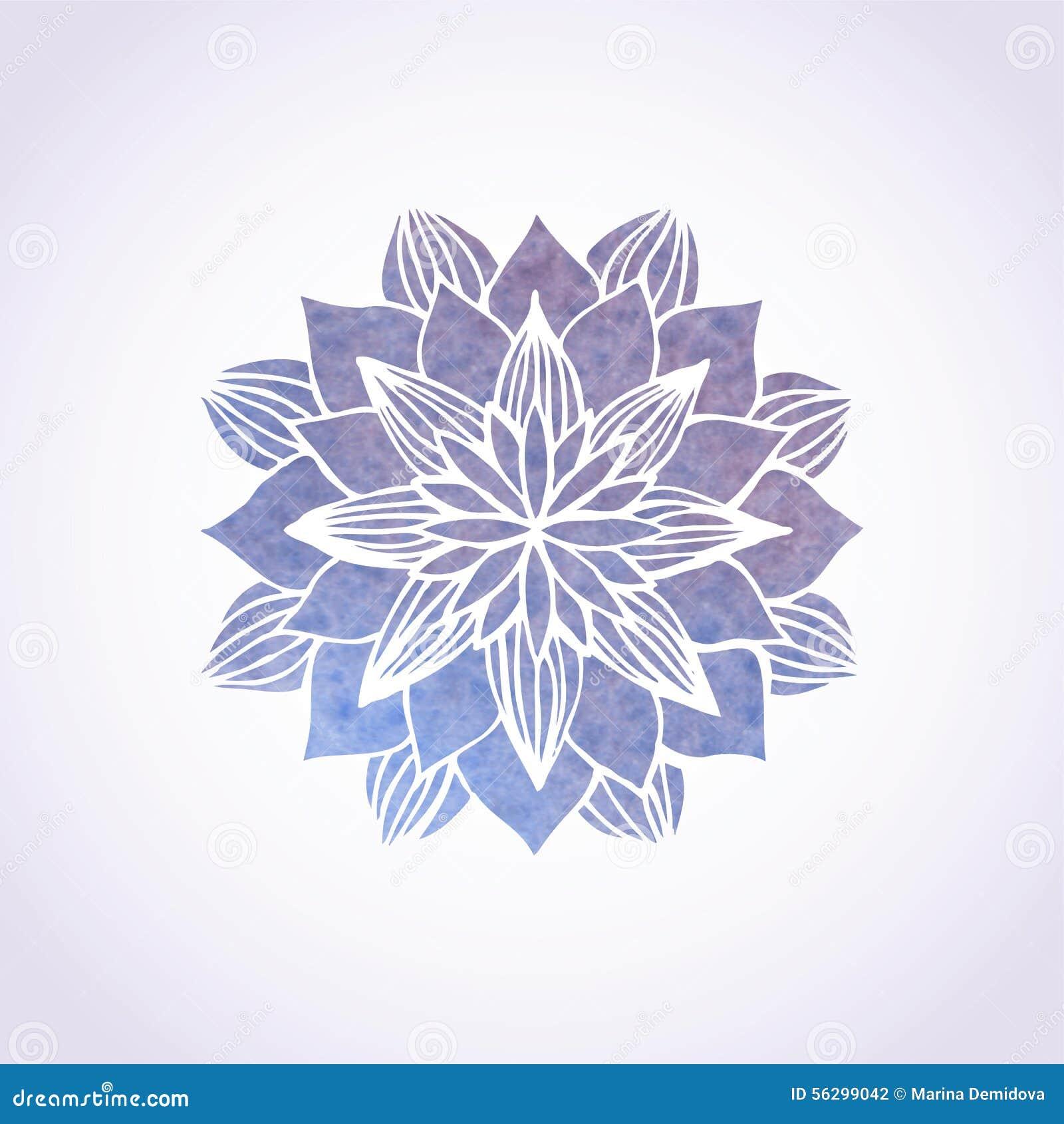 Watercolor Violet Lace Pattern Vector Element Mandala
