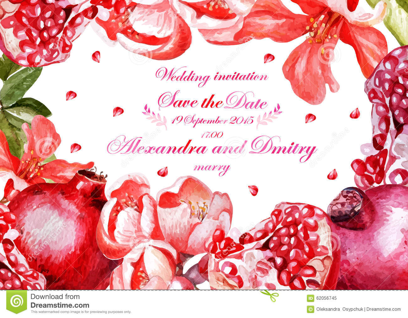 Pomegranate Wedding Invitations: Watercolor Wedding Card With Pomegranates Stock Vector