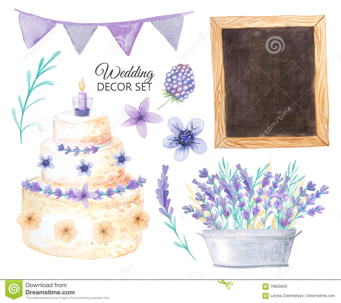 Watercolor Wedding Decor Set In Provence Style Stock Illustration ...