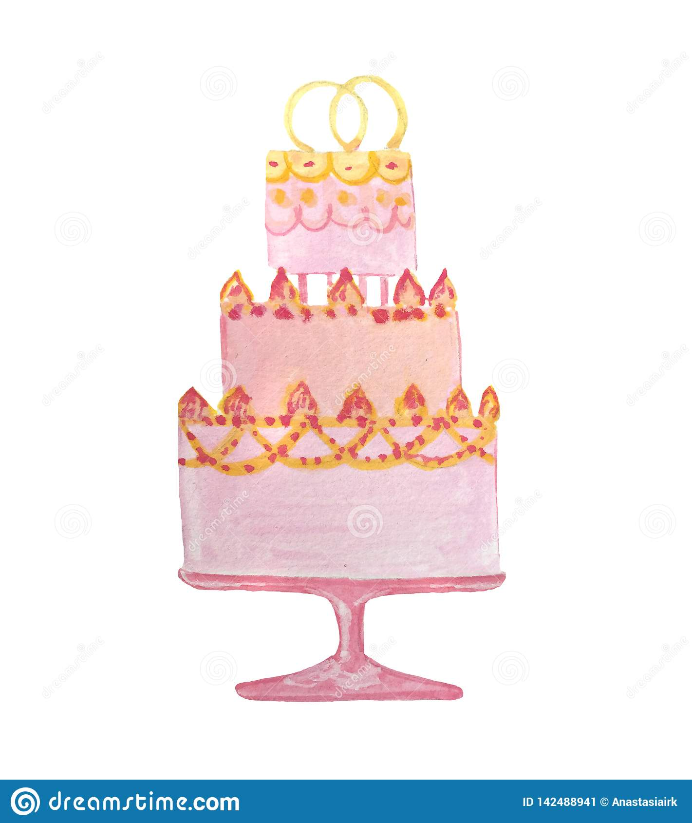 Hand drowning watercolor wedding pink cake