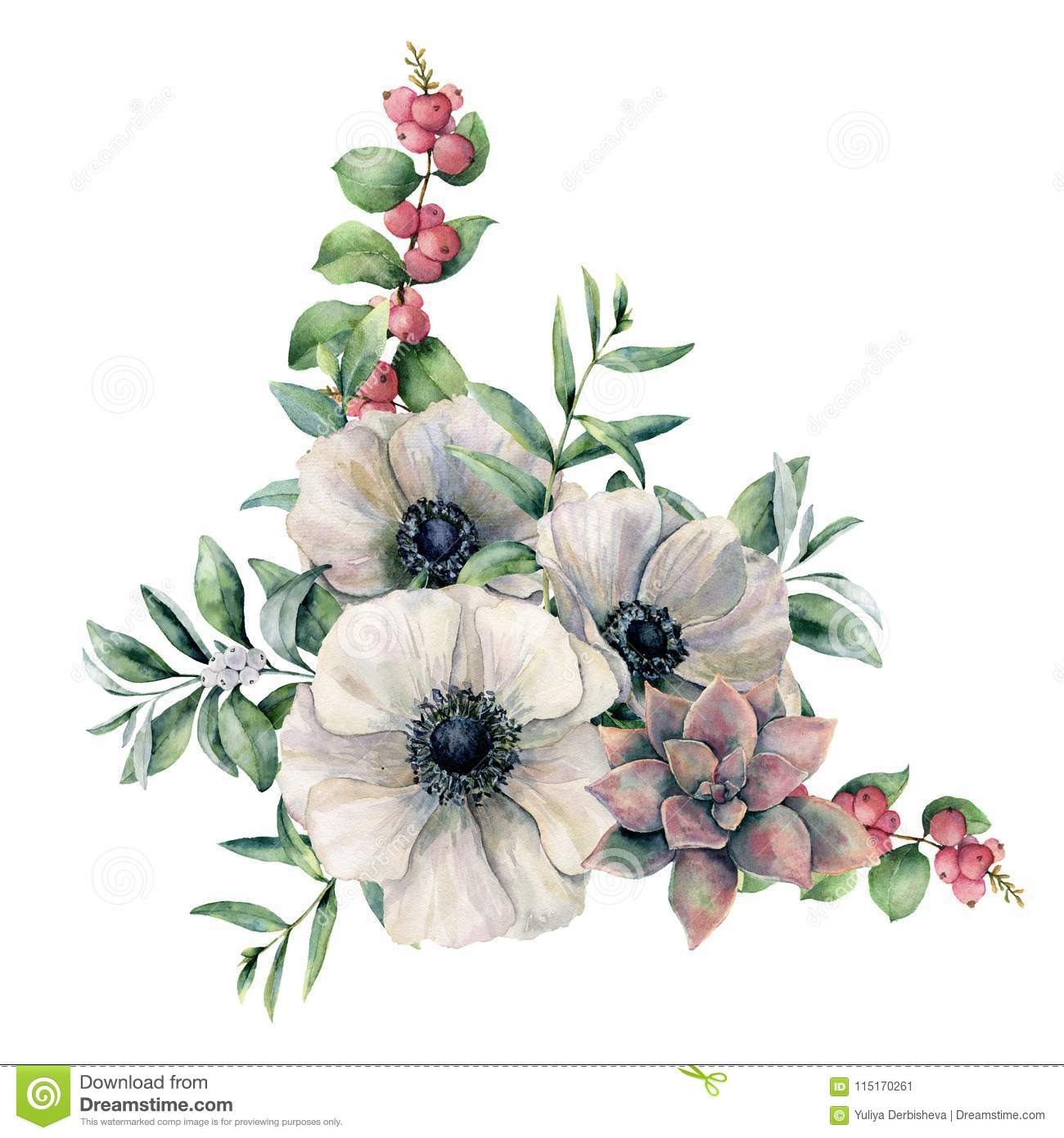 Watercolor White Anemone And Pink Succulent Bouquet Hand Painted Colorful Flower Eucalyptus Leaves And Berries Stock Illustration Illustration Of Flora Decorative 115170261