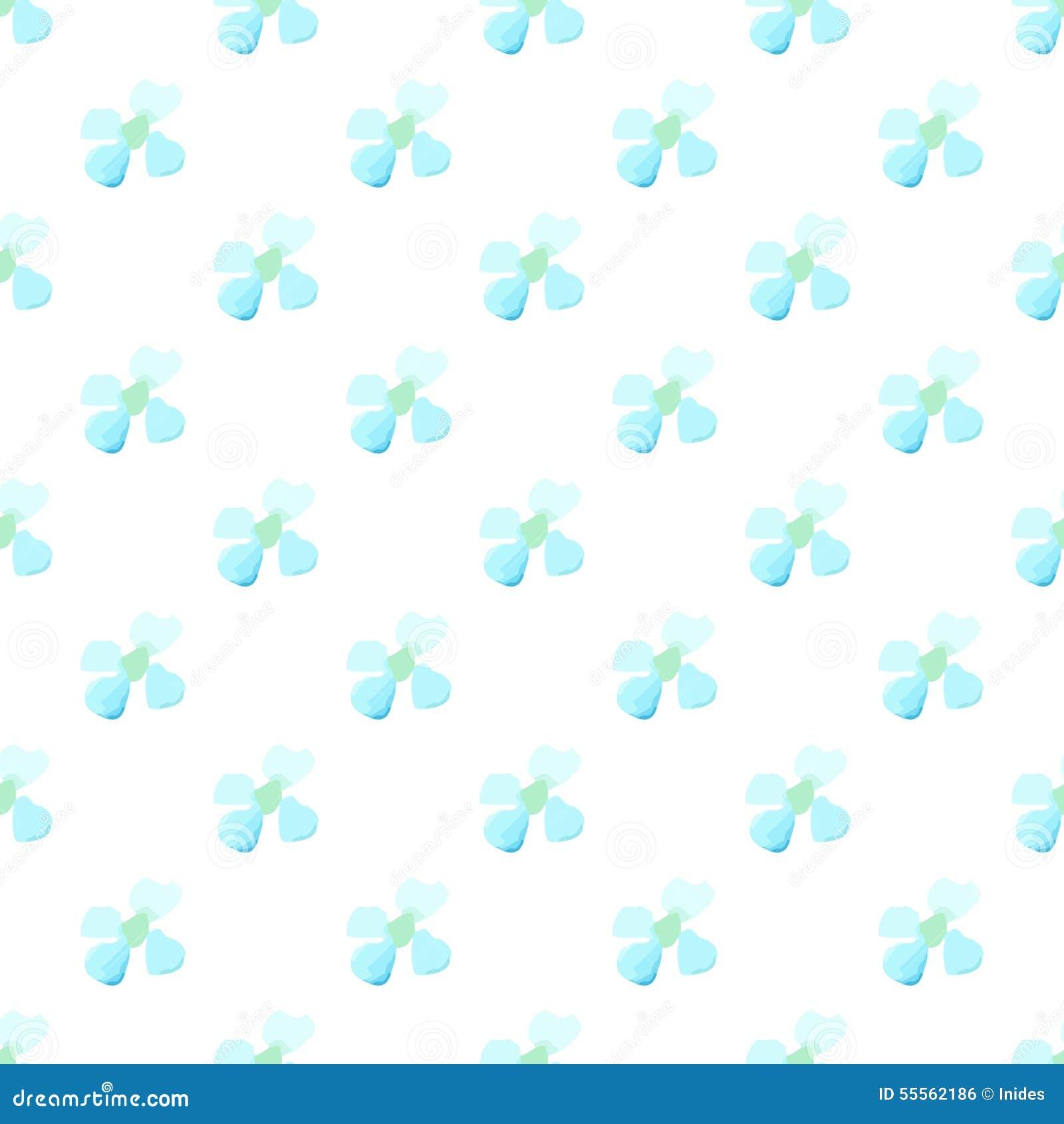 Watercolor White Blue Flower Seamless Vector Pattern Light