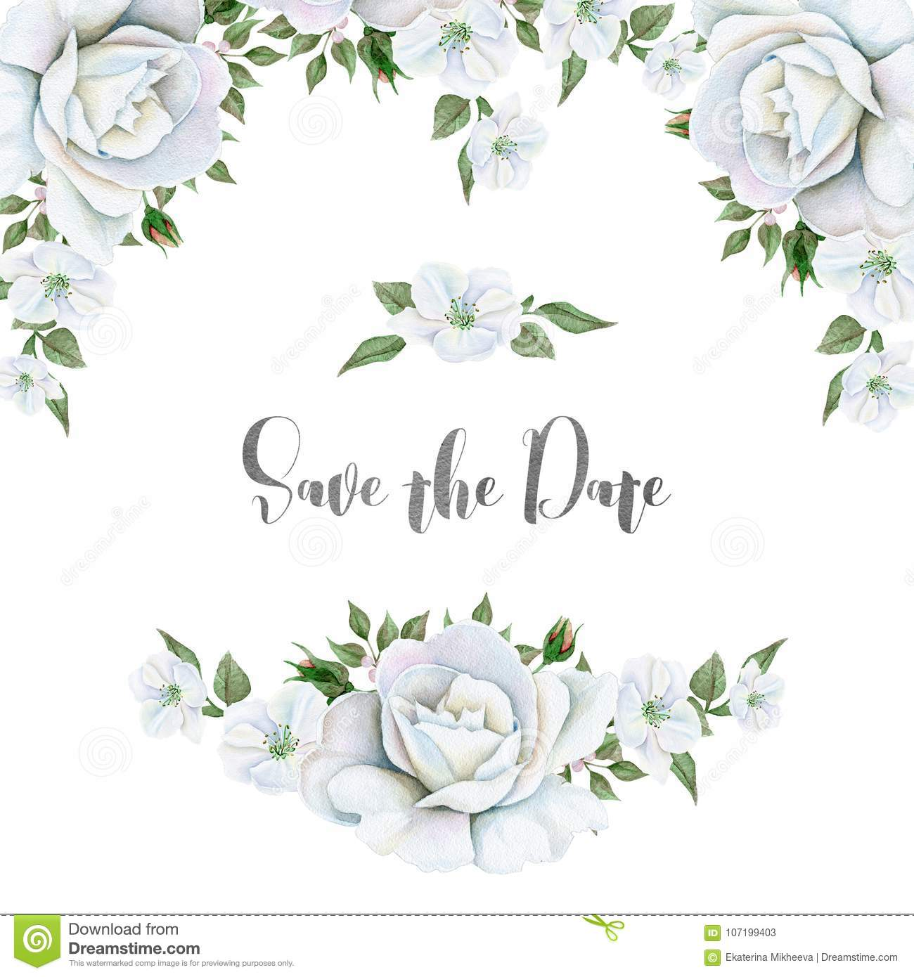Watercolor White Flowers Bouquets And Border. Great Start Stock ...