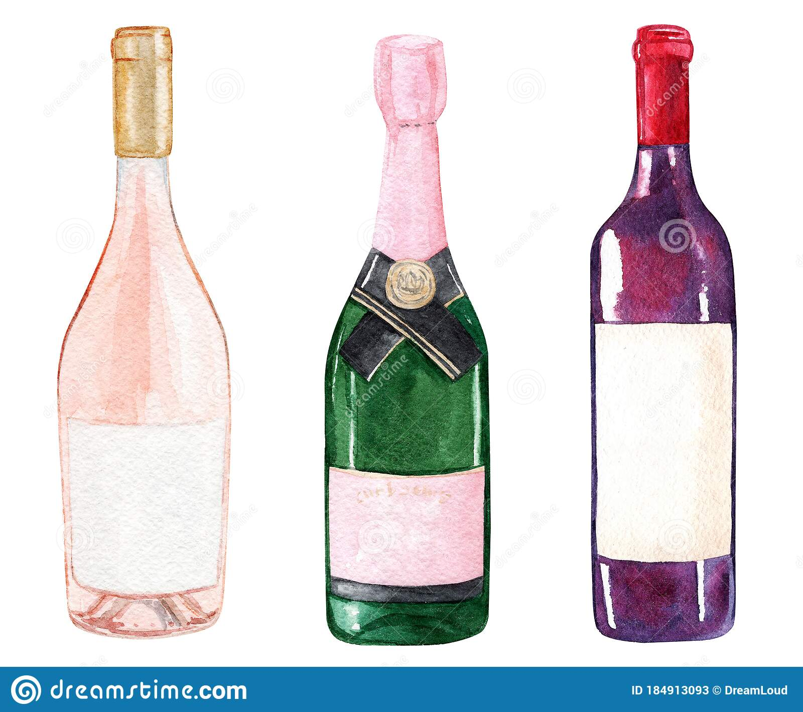 Watercolor Wine Bottles Set Isolated On White Background Stock Illustration Of Champagne Liquid 184913093