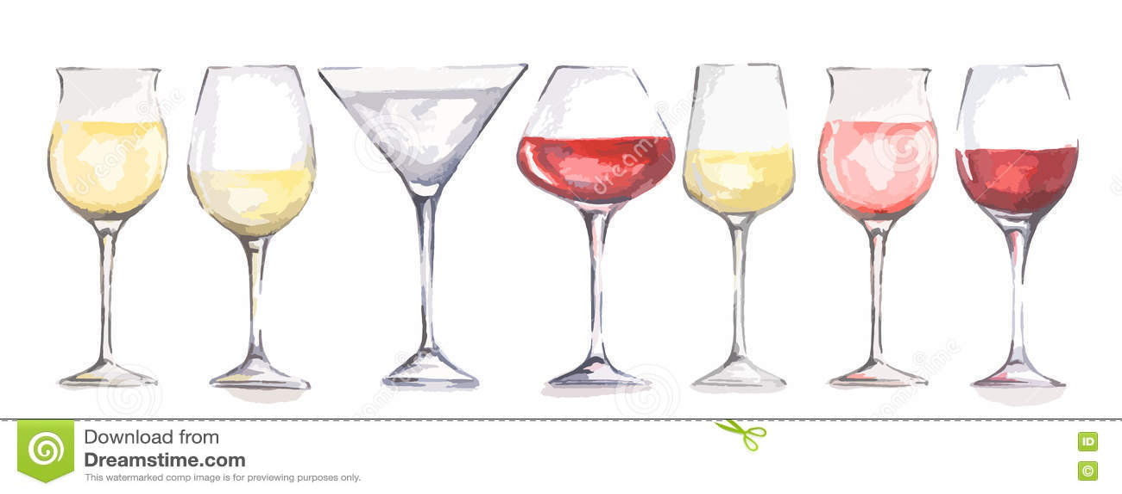 Wine Glasses Vector Illustration CartoonDealercom 16199564 : watercolor wine glasses set beautiful decoration menu restaurant cafe alcoholic beverage 75781148 from cartoondealer.com size 1300 x 590 jpeg 57kB