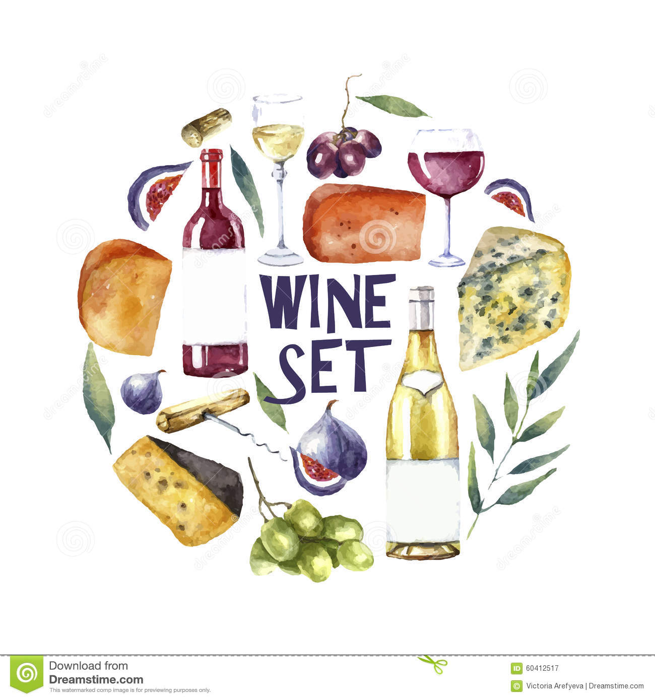 Watercolor wine set round card background stock vector for Cuisine wine