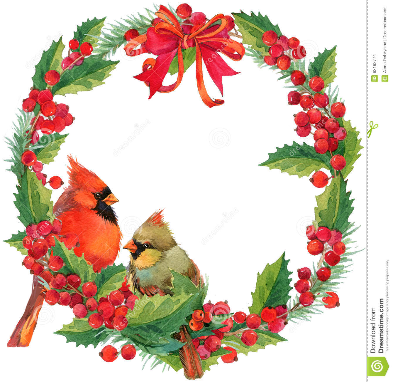 Watercolor Winter Christmas Wreath And Bird With Mistletoe, Berries ...