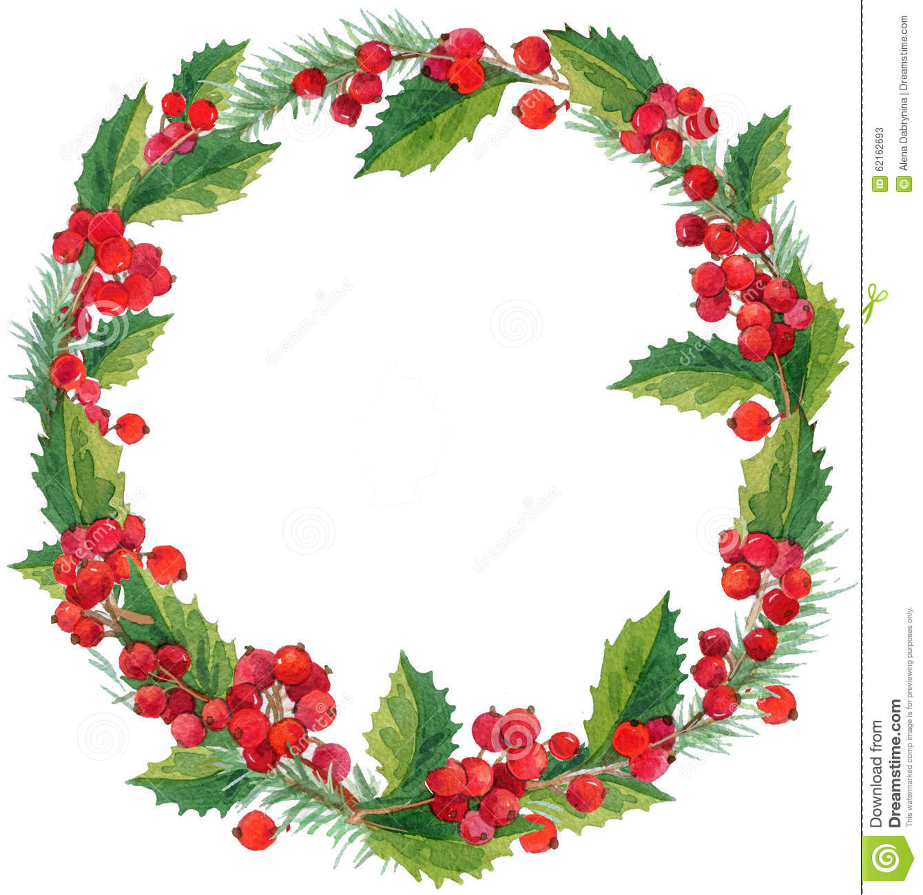 Watercolor Winter Christmas Wreath With Mistletoe, Berries And ...