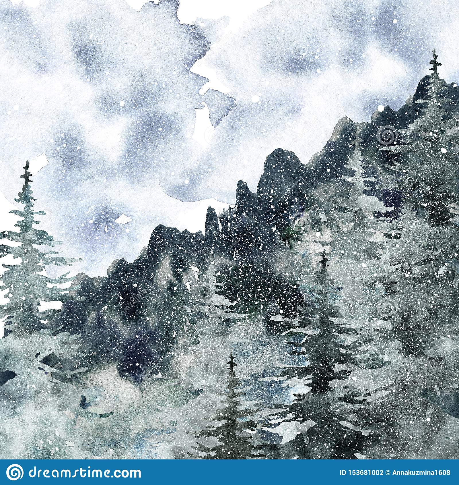 Dark Mountain and Pine Tree Landscape Painting Watercolor Painting