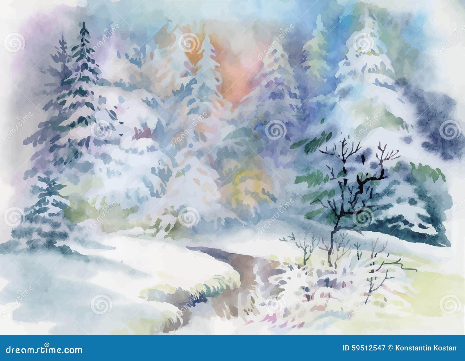 Watercolor winter landscape illustration vector