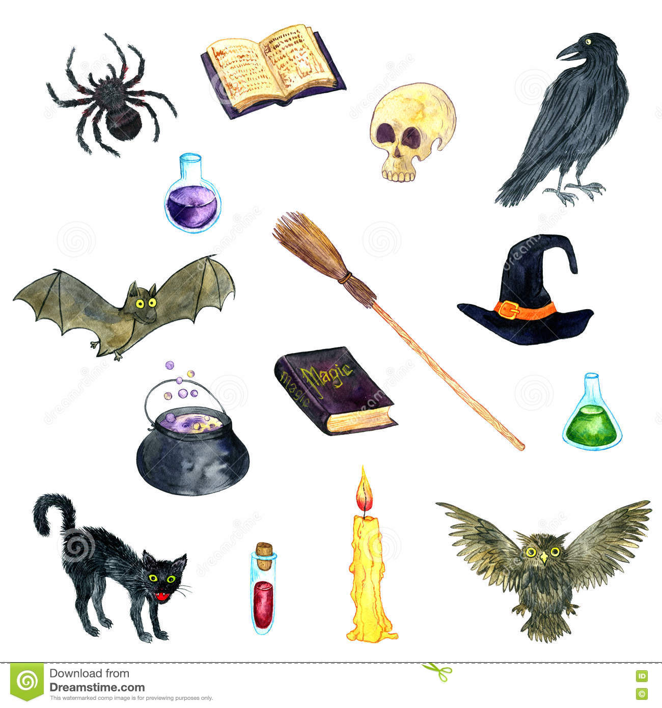 Watercolor witch symbols stock illustration  Illustration of